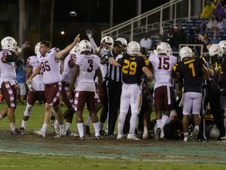 Redshirt-senior kicker Tyler Mayes (No. 95) signals after Temple's onside kick attempt in the team's 32-17 loss to Toledo in the Marmot Boca Raton Bowl Nov. 22| Donald Otto