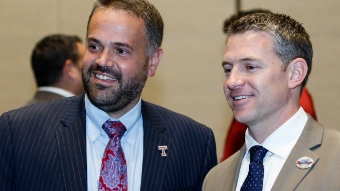 Coach Matt Rhule stands with Toledo coach Jason Candle at the joint team press conference hosted by the Palm Beach County Convention Center Dec. 21. | Donald Otto